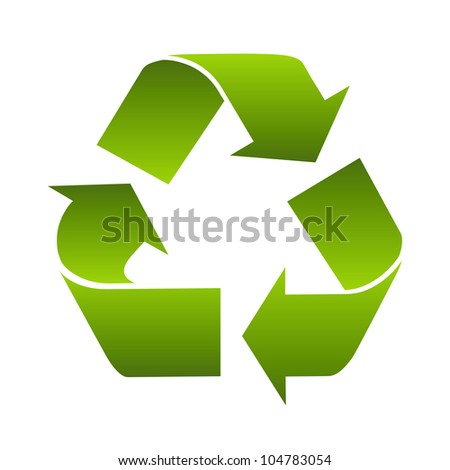 Recycle logo symbol isolated on white background. Stylized icon