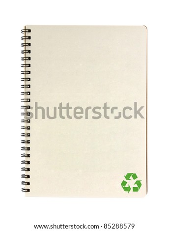 recycle notebook isolated on white background, conservation concept