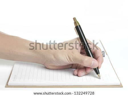 Recycle notebook with beautiful hand holding pen for writing on white background, isolated