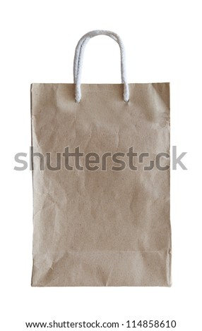 recycle paper bag isolated on white