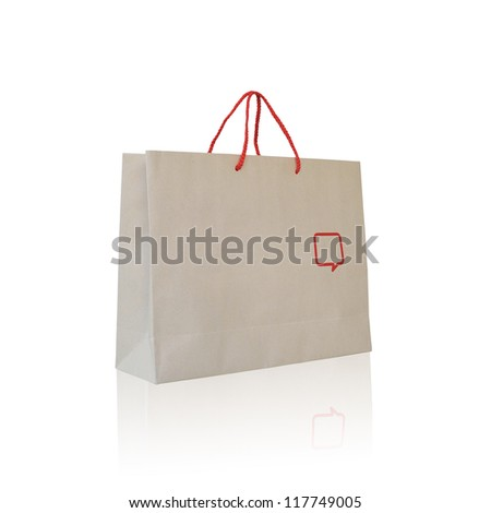 Recycle paper bag isolated on white background.