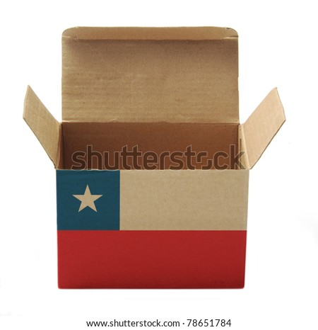 recycle paper box with Chile flag isolated on white background