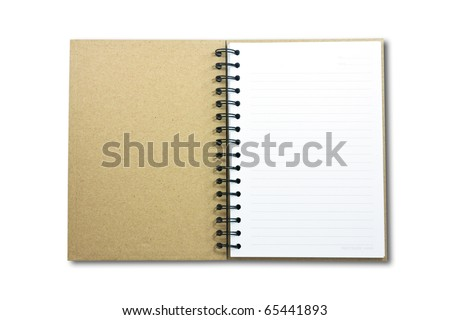 Recycle paper notebook first page on white background