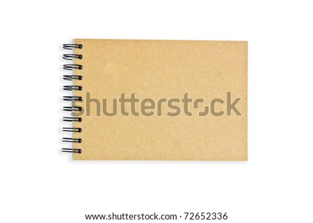Recycle paper notebook on white background