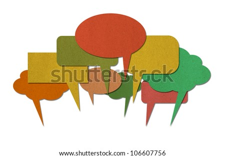 Recycle paper speech bubbles