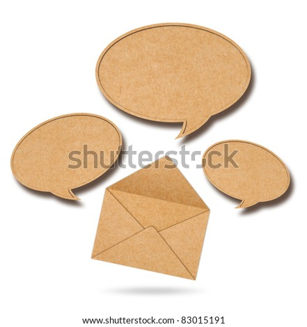 Recycle Paper speech bubbles out from Envelope
