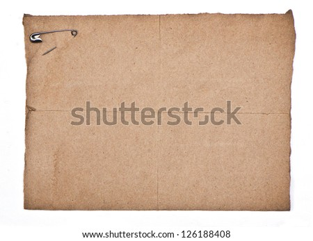 recycle paper with silver pin isolate on white paper