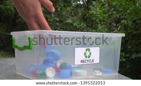 Recycle Plastic Bottle Caps and Lids. Sorting and recycling household waste