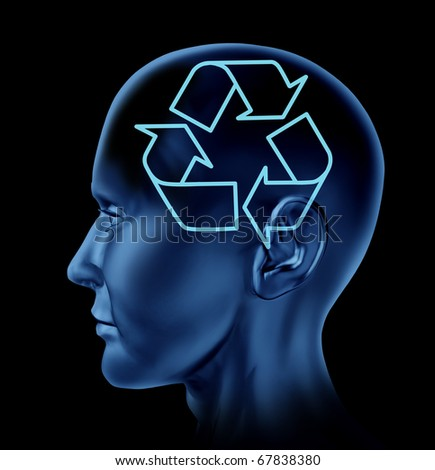 recycle recycling reuse environment symbol Brain mind head idea intelligence