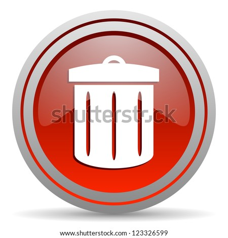 recycle red glossy icon on white background