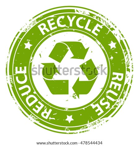 Recycle  Reuse Reduce green emblem or symbol rubber stamp icon isolated on white background. illustration