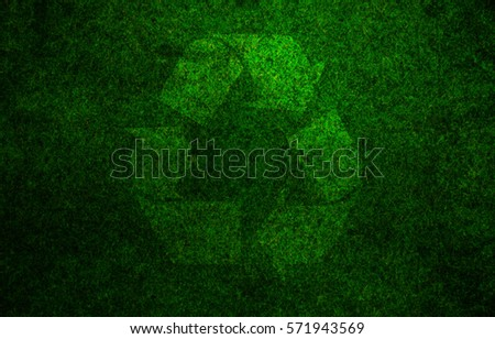 Recycle sign grass background #571943569