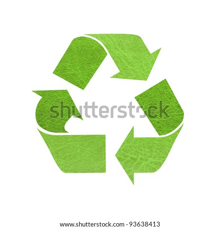 Recycle sign ,leather texture on white background