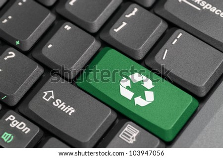 Recycle sign on a laptop