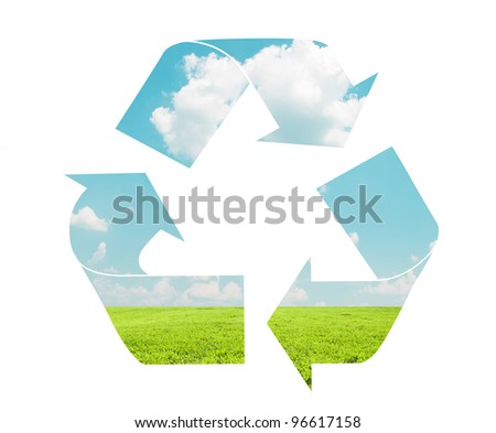 Recycle sign with landscape pattern - Eco concept