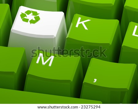 Recycle symbol button on green keyboard 3d