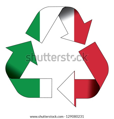 Recycle symbol flag of Italy