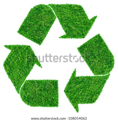 Recycle symbol from grass. isolated on white (Save Paths For design work)