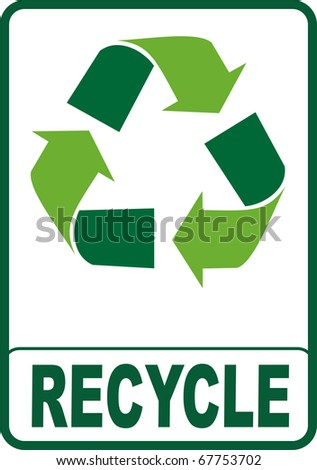 Recycle symbol isolated with green color on white background