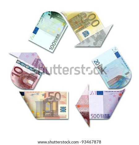recycle symbol made with euro banknotes 3d illustration