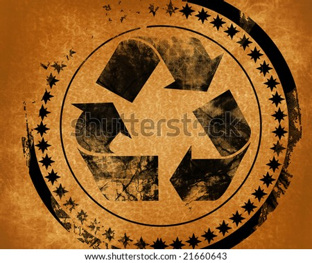 recycle symbol on a grunge like background