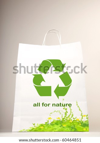 Recycle symbol on the shopping bag