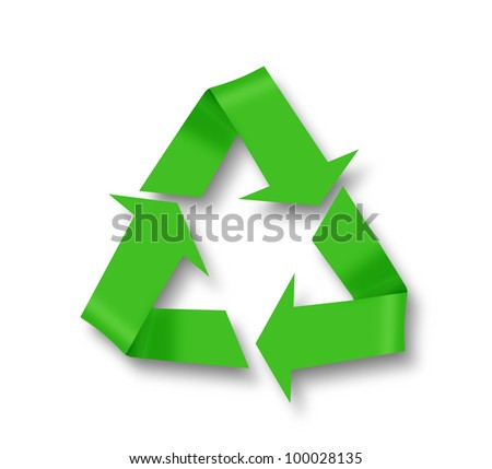 Recycle symbol on white with shadow