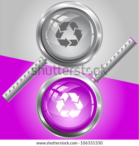 Recycle symbol. Raster magnifying glass. - stock photo