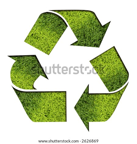 Recycle Symbol with Grass Texture (Clipping Path Included)