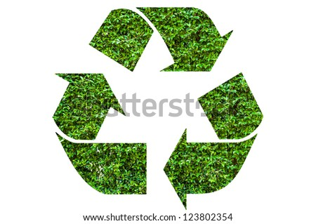 Recycle symbol with leaf texture, isolated on white background