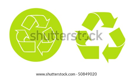 Recycle Symbols button and arrows Over white background