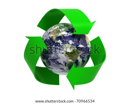 Recycle to Save Planet Sign - North and South America Region. Isolated on White Background