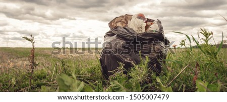Recycle waste litter rubbish garbage trash junk clean training. Nature cleaning, volunteer ecology green concept. Young woman pick up spring forest at sunset . Environment plastic pollution banner #1505007479