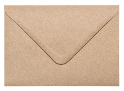 Recycled craft paper envelope isolated on white background