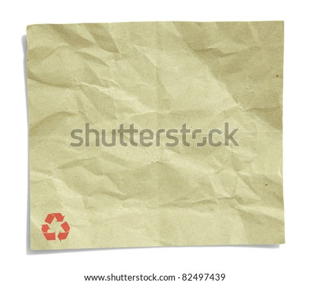 recycled crumpled paper isolated