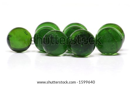 Recycled Glass Marbles on White Background