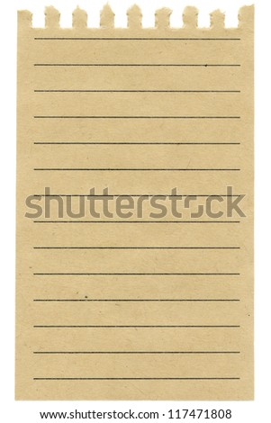 Recycled  lined paper sheet isolated on white