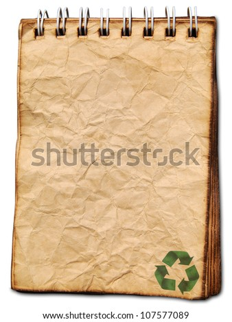 Recycled logo on old paper background