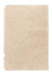 Recycled natural beige  paper  sheet texture or background with Torn edge.  Old craft paper texture.
