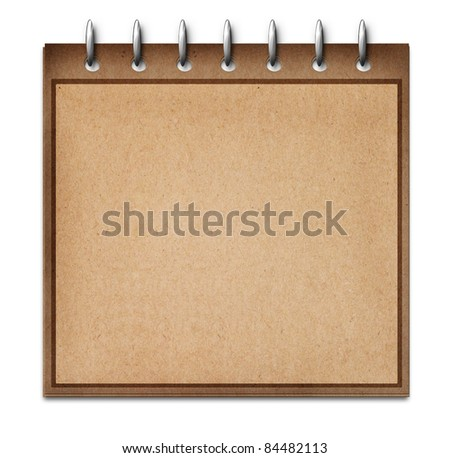 recycled paper blank note book isolated on white