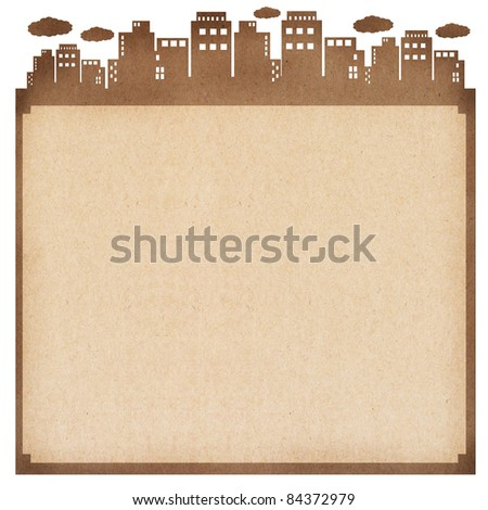 recycled paper card, cut paper with the city - stock photo