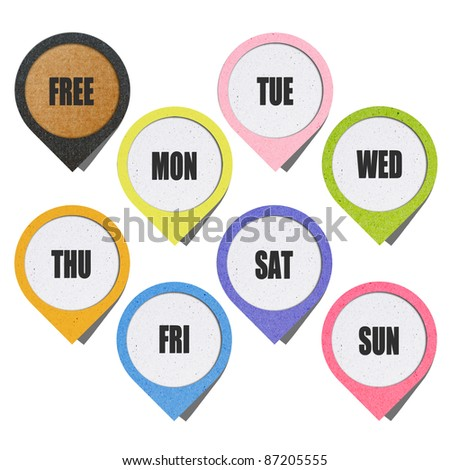 recycled paper craft stick on background, week note Calendar color Background