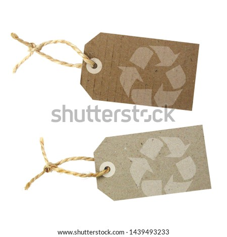 Recycled paper label with pictogram: recycling #1439493233