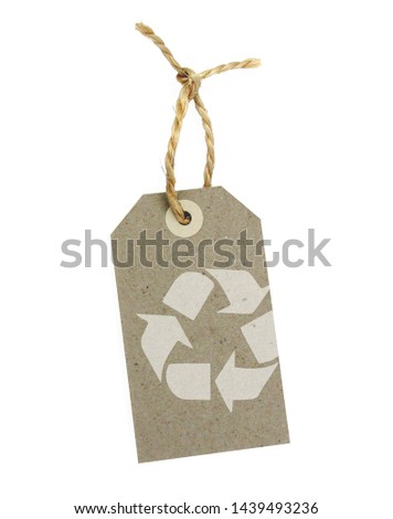 Recycled paper label with pictogram: recycling #1439493236