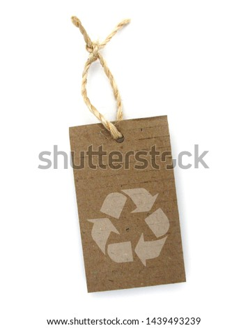 Recycled paper label with pictogram: recycling #1439493239