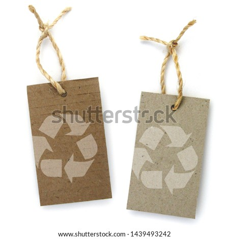 Recycled paper label with pictogram: recycling #1439493242