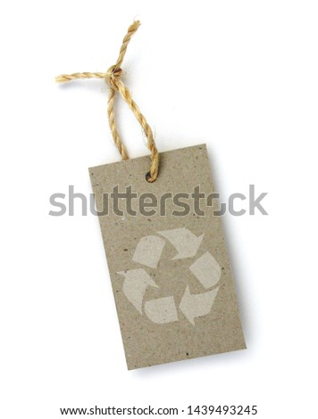 Recycled paper label with pictogram: recycling #1439493245