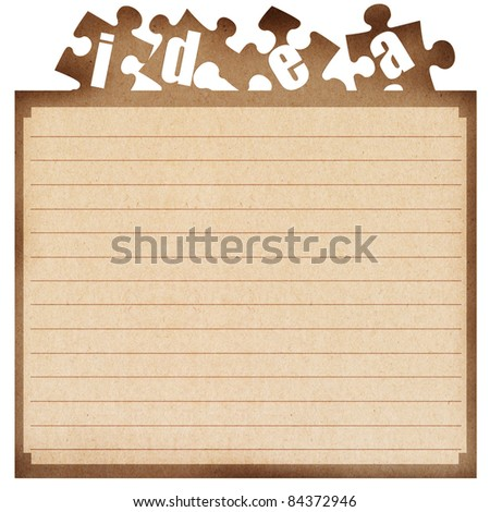 recycled paper note, cut paper with the idea text