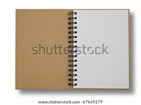recycled paper notebook first page