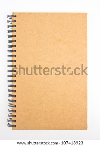 Recycled paper notebook front cover.